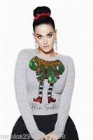 H&M KATY PERRY CHRISTMAS ELFIE SELFIE SEQUIN GREY JUMPER SWEATER SIZE M L