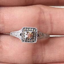 10k Gold Champagne White Diamond Halo Antique Style Wedding Engagement Ring