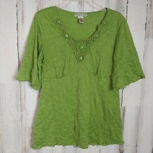 Women's Medium Crinkle Blouse Crochet Beaded Accents Green by Vintage Suzie