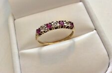 Lovely Ladies Vintage Full Hallmarked 9 Carat Gold Diamond & Ruby Ring