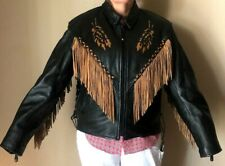LEATHER CLUB Motorcycle Jacket Blk & Brn w/Fringe & Designs Thinsulate Size XXXL