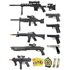 15 PIECE SPRING AIRSOFT GUNS SET SNIPER RIFLE SHOTGUN SMG PISTOLS 6mm BB Bundle