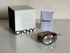 NEW! DKNY DONNA KARAN STANHOPE GREY GENUINE LEATHER STRAP WATCH NY2460 $135 SALE