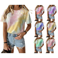 Summer Womens Casual Loose T Shirt Short Sleeve Round Neck Tops Floral Blouse