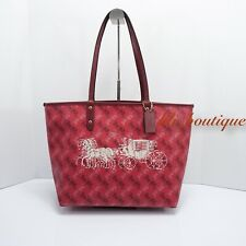 NWT Coach F82135 Reversible Tote Shoulder Bag PVC Horse Carriage Bright Red $378