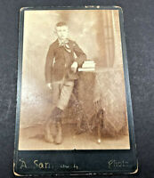 Antique Cabinet Card Photo School Boy with Books Young Man 1880's - 1890's