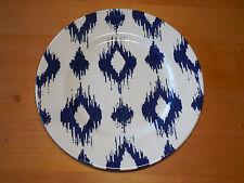 """Andrew Tanner England IKAT BLUE Set of 3 Dinner Plates 11"""" Streaked Diamonds"""