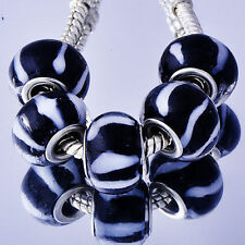 5Pcs Silver Plated Murano Glass Charms Beads Lampwork Fit European  Bracelets