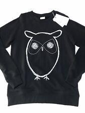 Knowledge Cotton Apparel Organic Cotton Long Sleeve Owl Logo Sweatshirt Black L