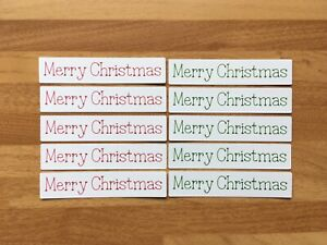 10x Merry Christmas Card Toppers Sentiments Banners Papercraft Scrapbooking