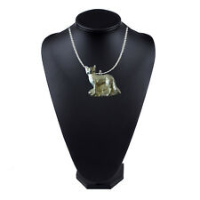 """On 16"""" Silver Plated Curb Necklace Fox In The Grass 4x3.3cm gt246 Pewter"""