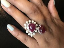 18k on 4k Real gold  Bridal cartier Cocktail Party Ring Red Ruby Pearl 6.5 Size