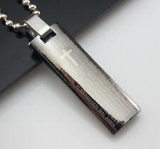 Free Unisex's Bead chain Black Titanium Steel Unique Bible Pendant Necklace Gift
