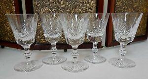 Five Edinburgh Crystal Star of Edinburgh pattern sherry glasses
