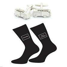 Matt Silver Fire Engline Cufflinks & Trust me I'm a Fireman Socks Gift Set