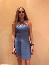 Authentic Herve Leger French Blue Alyia Bandage Flare Dress M, NWT $1,290