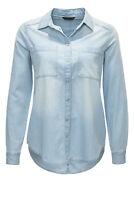 Only Damen Jeansbluse Jeanshemd Hemdbluse Jeans Bluse Hemd Denim Shirt Blue SALE