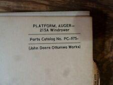 John Deere 215A Auger Platform Windrower Parts Catalog Manual Book Pc-975