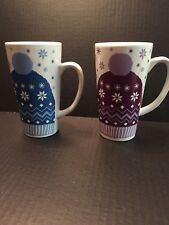(2)CALIFORNIA PANTRY Mugs with Snowflakes & Winter Hats - (1) Maroon - (1) Blue
