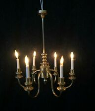 Vintage Dolls House Artisan Miniature Ray Storey Lighting Brass 6 Arm Chandelier