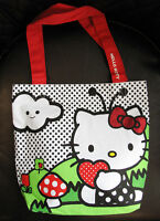 New Authentic Sanrio HELLO KITTY Fabric Handbag Tote Polka Dot Hello Kitty Print