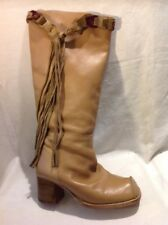 Shellys Brown Knee High Leather Boots Size 40
