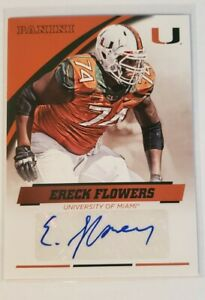 Ereck Flowers University Of Miami Autograph Card 2015 Panini #EF-MIA