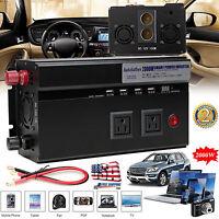 Power Inverter Car USB 2000/4000W WATT Charger 12V DC To 110V AC Adapter Convert