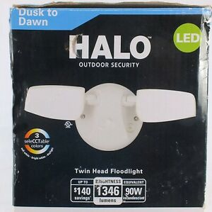 Halo Duo Flood Light Outdoor Integrated LED Dusk to Dawn Photocell Sensor White