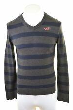 HOLLISTER Mens V-Neck Jumper Sweater Large Grey Striped Cotton  BH09