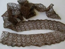 Antique French Metallic Mesh Lace Trim Wide...Vintage Millinery Bronze 80""