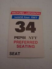 Rare Michael Jackson Dangerous World Tour 1987 Pepsi Ntt Backstage Concert Pass