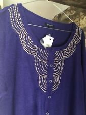 Papaya Hand Embellished Pearl Beaded Purple Cardiagn Size 18