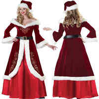 CHRISTMAS ADULT MRS MISS SANTA CLAUS QUEEN COSTUME LONG DRESS UP OUTFITS COSPLAY