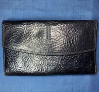 Vintage Black Genuine Leather Women's Ladies Checkbook Wallet Envelope Style