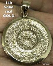 "1.35"" Aztec Pendant 14k SOLID Real Yellow GOLD sun CALENDAR mayan charm 3.8g"