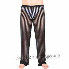 Men See-through Mesh Long Pants Underpants Sheer Trouser Soft Thin Mesh Lingerie