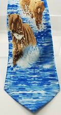 Gone Fishing Grizzly Bear Tie FRATELLO HAND MADE 100% POLYESTER 58""