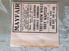 M3-7a ephemera 1941 dagenham film advert billy lee mayfair james newill arthur