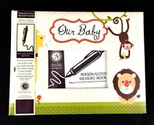 OUR BABY PHOTO ALBUM PERSONALIZABLE MEMORY BOOK w/ Stickers Zoo Theme NEW