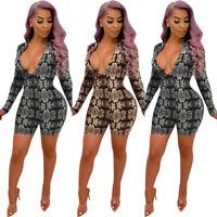 Womens Deep V Snake Floral Long Sleeve Bodysuit Nightclub Dress Jumpsuit Romper