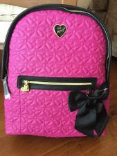 Betsey Johnson NWT Backpack Quilted Winged Heart Fushia Black Big Black Bow