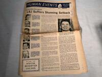 NOVEMBER 1966 NEWSPAPER HUMAN EVENTS WASHINGTON DC RONALD REAGAN COVER PHOTO