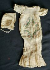 Antique Muslin Embroidered Handmade Baby Doll Dress Very Old unknown age/ origin