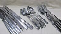 Lot of 18 Mismatched Stainless Steel 6 Each Knives Spoons Dinner Forks Flatware
