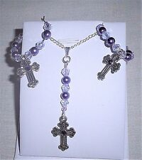 Rhinestone Imitation Pearls Czech Crystals Cross Pendant Necklace & Earrings Set