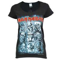 Amplified Womens Iron Maiden 9 Eddies Rock T Shirt Black NEW