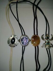 Bolo slides and ties. Stone and tribal. Great condition. 4 in total.