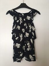 abercrombie and fitch A&F Sleeveless Blue Floral Cotton Top Shirt Size S