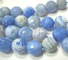 Sky Blue & White Cracked Fire Agate 15mm Faceted Round Large Stone Beads 7""